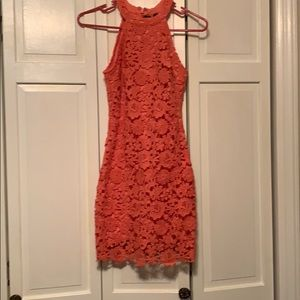 Lulus Coral Lace Dress
